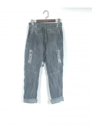 Trouser froissé with zips