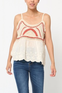 Tank top  crochet et embroidery anglaise