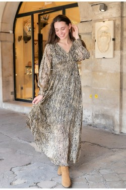 Dress long  printed lurex with galons des perles brodés aux sleeves
