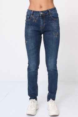 Jeans with pearl and rhinestones