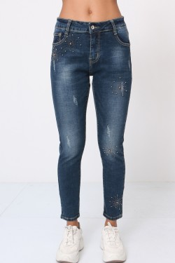 7/8 jeans with pearl and rhinestones