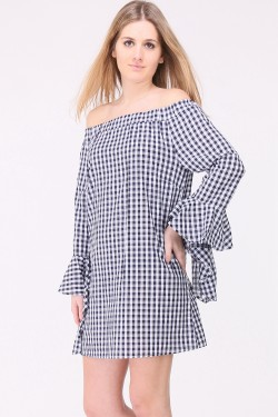 Vichy print cotton blouse with ruffled sleeves and bare shoulders